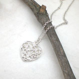 Filigrane Herzkette 925 Silber b991