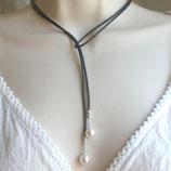 Schwarze Lederkette mit weißem Muschelkern 925 Silber, Wickelkette, t796