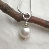 Perlenanhänger Muschelkern weiß 925 Silber, mit Perlenkappe, f305