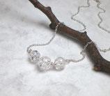 Pure Bergkristall Kette 925 Silber, weiße Kugeln d532