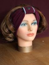 Stirnband, Brombeer-Wolleweiß