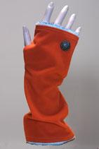 Pulswärmer, Orange- Wolleweiß