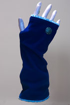 Pulswärmer, Blau-Wolleweiß