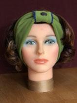 Stirnband, Grün-Wolleblau