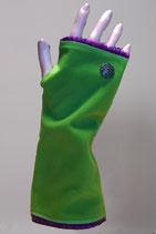 Pulswärmer, Grün-Wollefuchsia