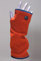 Pulswärmer, Orange-Wolleblau