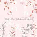 Designpapier - Frühlingsblumen - rosa rot