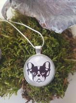 """Halskette + Anhänger """"Bulldogge mit Brille"""""""