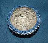 Glas-Strickschale Creme/blau