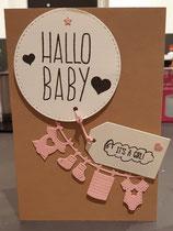Hallo Baby, braun, weiß und rosa