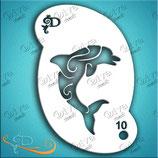 Stencil Dolphin Swirl
