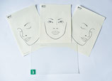 Transparenter Vordruck mit 3 x A4 Face Charts
