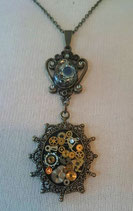 Steampunk-Collier Messing/Mitternachtsblau