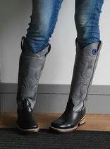 Western Boots Bulls Eye BLACK GREY