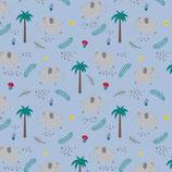 Sarouels courts éléphants/palmiers fond bleu clair