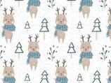 Snood léger rennes bleu