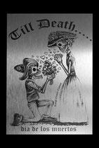 """Alu Platte in Silber gebürstet """"TILL DEATH"""""""