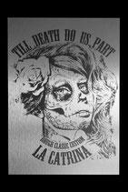 """Alu Platte in Silber gebürstet """"LA CATRINA"""""""