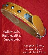 Collier classique à boucle, tour de cou 36 à 52 cm en cuir