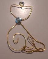 Petit chat déco en fil de cuivre,  petite attache en fil de cuivre bleu