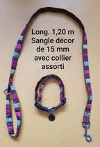 ENSEMBLE laisse + collier (offert par Edmond)+ porte gamelle (offert par Chantal)