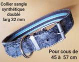 Collier classique à boucle, tour de cou 45 à 57 cm largeur 50 mm