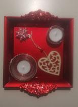 Décoration table de Noël avec 2 bougies motif cœur