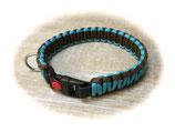 Paracord/Biothane-Halsband Neon Türkis/Walnut 37 (Rabatt-Shop)