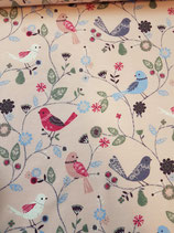 French Terry rosa mit bunten Vögeln und Blumenranken, Grundpreis: 19,90€/m