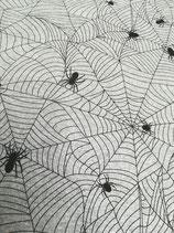 Sommersweat, French Terry grau meliert mit schwarzem Spinnennetz , Grundpreis: 16,90€/m