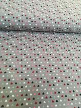 Jersey grau mit bunten Herzchen, Grundpreis: 17,90€/m