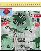 French Terry grau mit T-Rex, Fräulein von Julie, Grundpreis: 19,90€/m