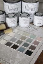 Farbkarte mit allen 20 Farbtönen von Jeanne d'Arc Living's Vintage Paint