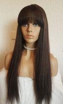 Full lace wig mit top silk und pony Braun 65cm