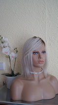 Echthaar Perücke lace front swiss lace Farbe:1b# Platiniumblond