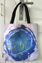 """lunArtis Shopper/Tasche """"Blauer Planet im Silbermondhimmel"""""""