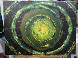 """lunArtis Kunstdruck auf Leinwand """"Geburt von Exoplaneten in der Grünen Galaxy"""""""