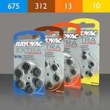 Großpackung - 60 langlebige auslaufsichere Marken-Hörgerätebatterien im praktischen Ring, Hersteller Rayovak