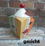 "Gebäckdose Dose ""VIER"" Keksdose Keramik im Design gesicht"