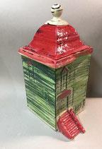 """Gebäckdose Keksdose  """"Haus anno 1825"""" Keramik in grün mit rotem Dach"""