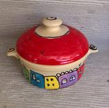 kleiner runder Brottopf Brotdose  aus Keramik für Singles oder kleine Haushalte im Design colorido