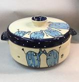 großer runder Brottopf mit blauen Elefanten