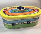 "großer ovaler Brottopf Brotdose ""chleb""  aus Keramik Handarbeit Keramik im Design crazy"