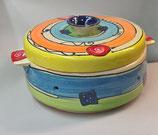Brottopf Brotdose rund mit zwei Griffen  Keramik Handarbeit im Design crazy