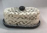 Käseglocke oval Dose für Käse oder Wurst oder Kuchen aus Keramik im Shabby Chic Stil