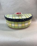 halb runder Brottopf Brotdose aus Keramik Handarbeit für Singles oder kleine Haushalte in Karo grün