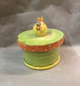 Keksdose Dose für Gebäck  Keramik mit Huhn in Maigrün