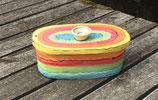 "großer ovaler Brottopf Brotdose ""chleb""  aus Keramik Handarbeit Keramik im Design regenbogen"