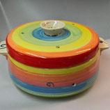 Brottopf Brotdose rund mit zwei Griffen in regenbogen Keramik Handarbeit