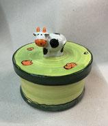Keksdose Dose für Gebäck  Keramik mit KUH auf der Blumenwiese